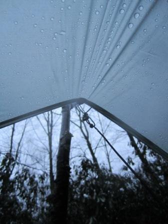 View from tarp during the rain