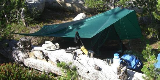 Bug tent and tarp together in Yosemite