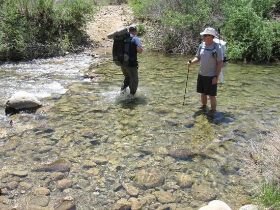 "Kevin & Andy wading across the ""Mighty"" Sespe Creek"