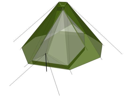 bivvy tent using two walking poles as supports