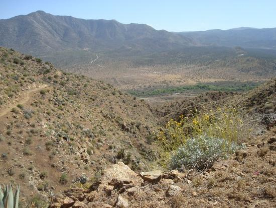 Looking south, climbing up San Felipe Hills