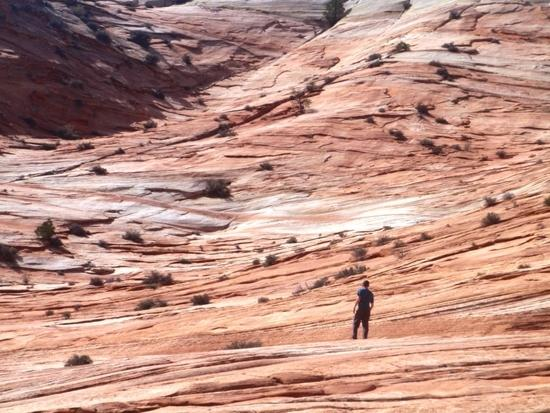 Devin exploring open rock face