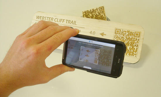 Sign being read by an existing QR App, just for testing