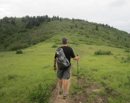 Hiking with single shoulder strap