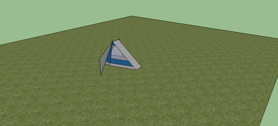 This  is the tent with the rainfly up partially and the vestibule stake out