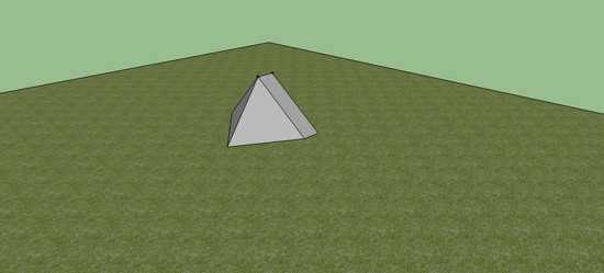 The tent with the rainfly fully staked out, air flows underneath for ventilation