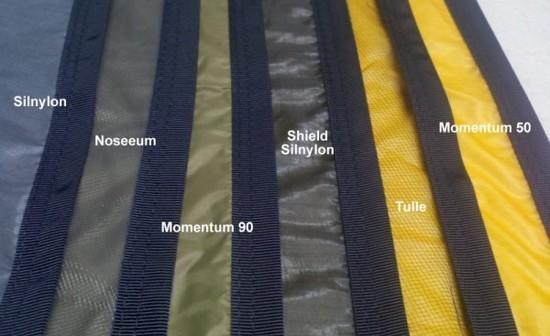 Sample fabrics with grosgrain edging.