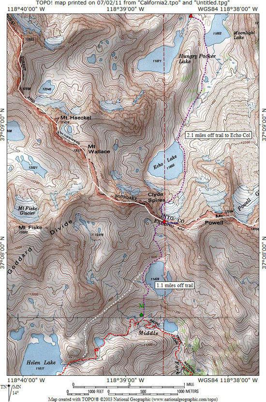 Echo Col topo map