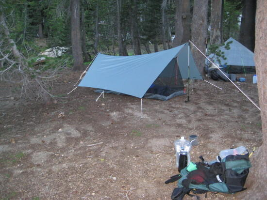 My GG SpinnTwinn tarp and Bear Paw Minalmist 1. ULA pack on the ground