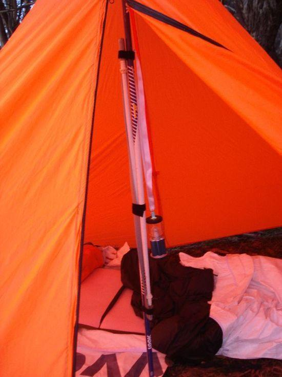 Ski poles connected for tent pole