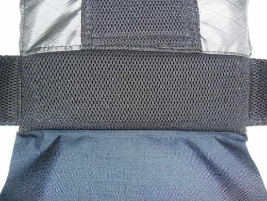 Padded lower back and breathable upper back detail