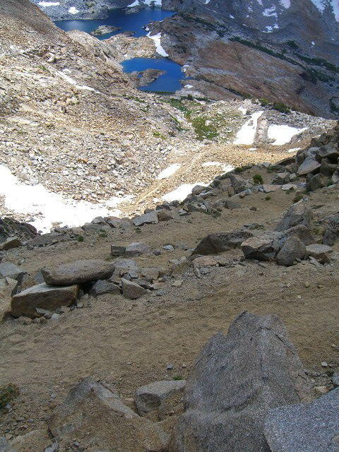 Looking back at switchbacks up to Red Peak Pass