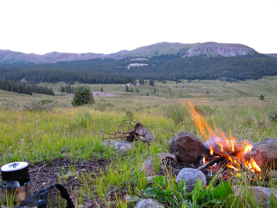 Camp at sunset on the E Fork of Ute Creek