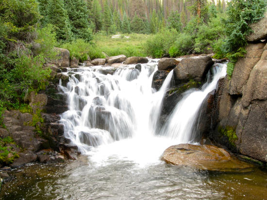Waterfall on the Pine River, emptying into a trout-filled pool
