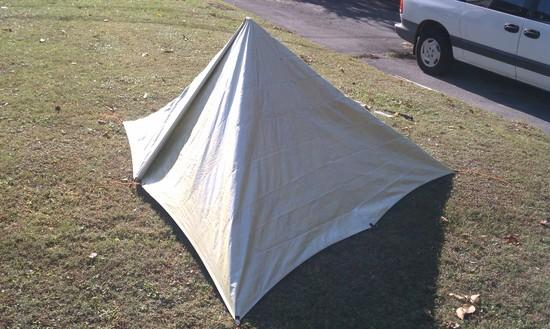 9'x9' tarp pitched as tetrahedron