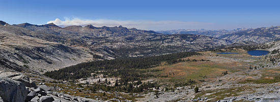 Day 4, looking west and north from atop Post Peak Pass.