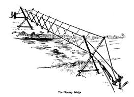 Monkey Bridge drawing to show doubled-up stakes