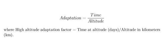 equation_High altitude adaptation factor