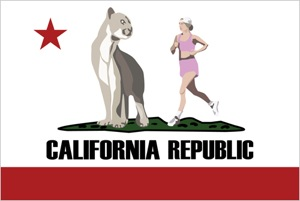 CA Flag with mountain lion