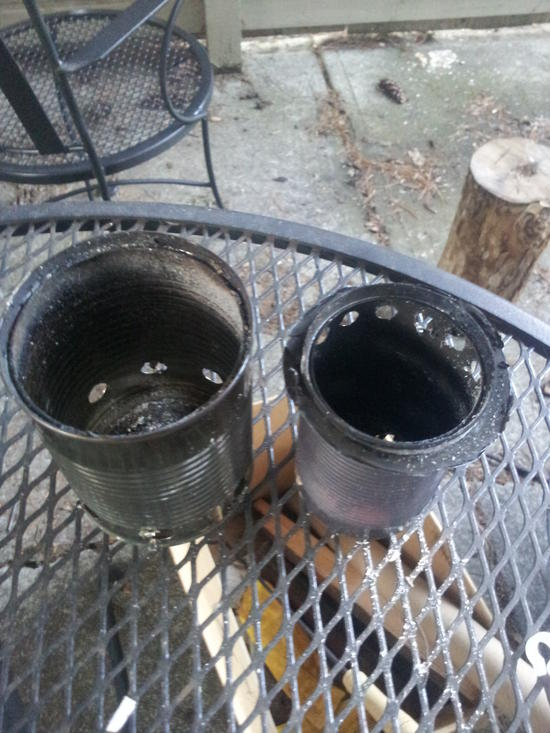 The two cans disassembled