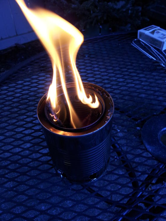 In action, with the secondary combustion visible.