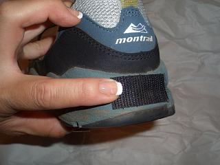 velcro applied to the rear of the shoe sole