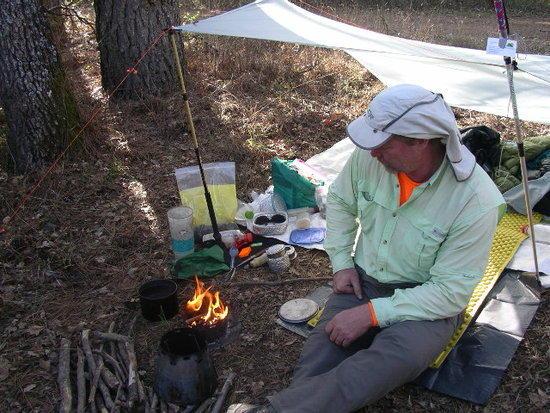 Trail Designs showing off a 2 quart wood burning Tri Ti