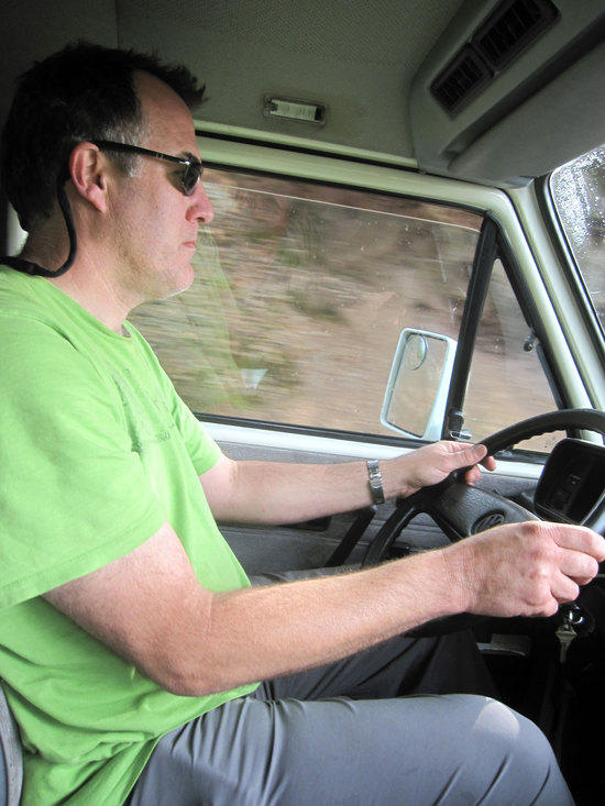 Ken T. Driving Where Others Fear to Drive in an Old VW Van