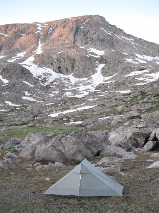 I stuffed my food sack deep into those boulders behind my shelter since their were no trees to hang