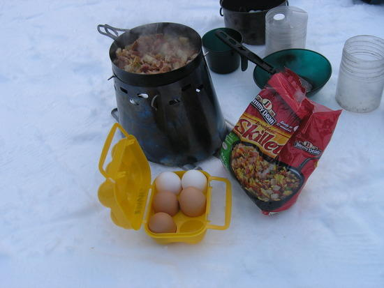 winter use of Caldera, with frozen skillet meal and eggs