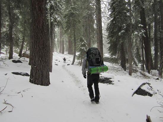 Starting our climb twards camp lake