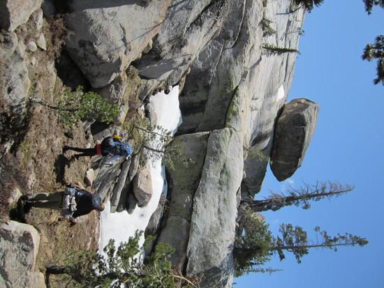 Climbing to get aournd impassable Wood Lake Cove.