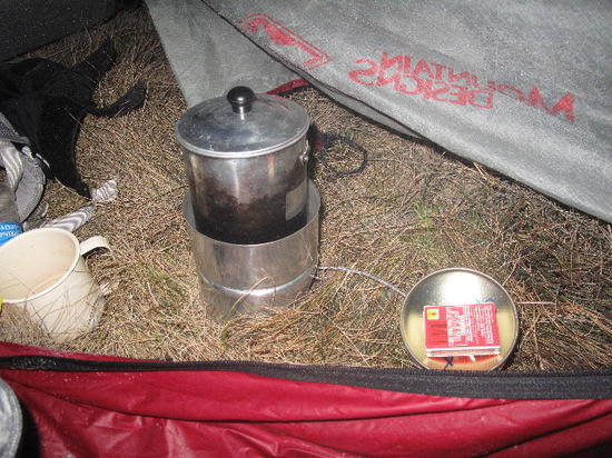 Stove in tent