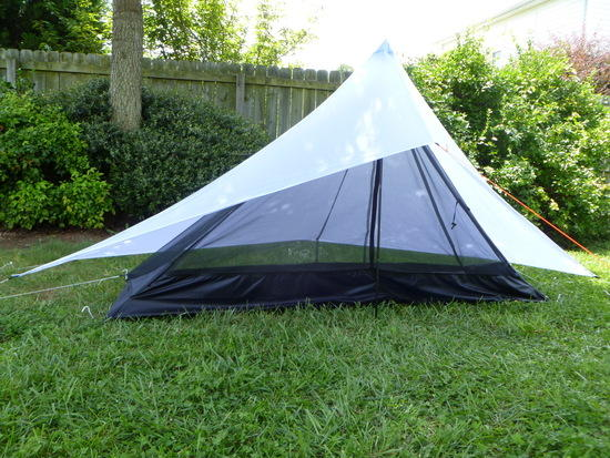 1/2 pyramid tarp with beaks and 1/2 pyramid bug hut