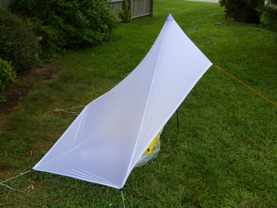 Side and back view of tarp