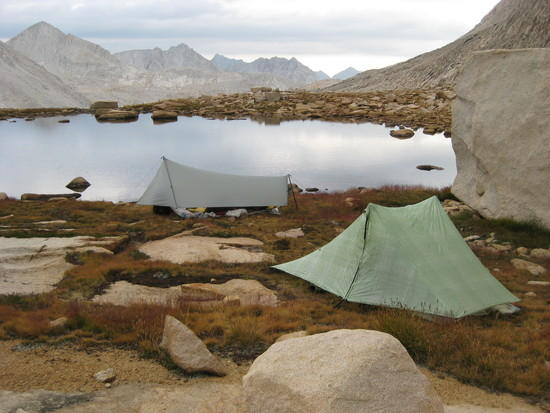 Tents set up at tarn below Gabbat Pass