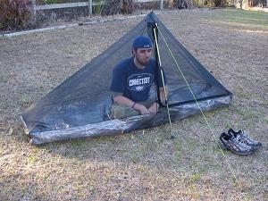 The HexaNet is six sided pyramid shaped bug shelter which fits under our Hexamid Solo Tarp essentially making it a double wall shelter. & zpacks HexaNet solo inner bug shelter - Backpacking Light
