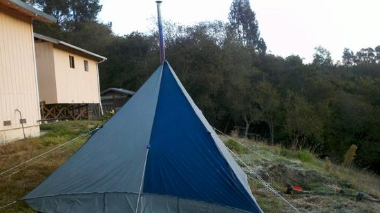 tent with stove