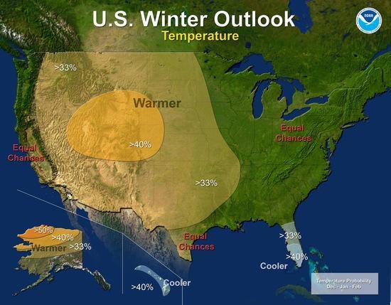 NOAA Winter Outlook, Temperature