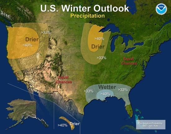 NOAA Winter Outlook, Precipitation