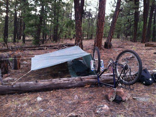 tarp tent with bike 1