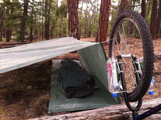 Tarp tent with bike 2