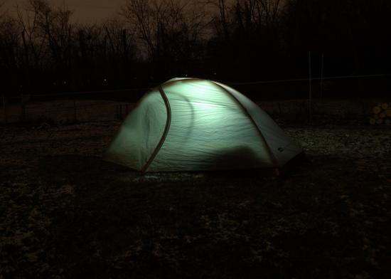 Quarter dome tent the night I tested my quilt