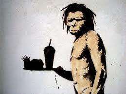 caveman with fast food.