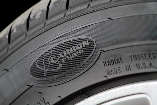 tire seen on Tesla automobile