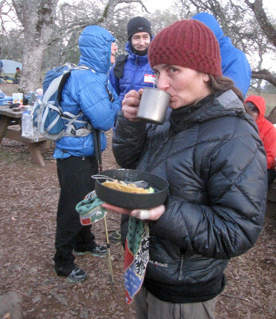 Kat Enjoying a Meal Before the Wood Stove Burn Off