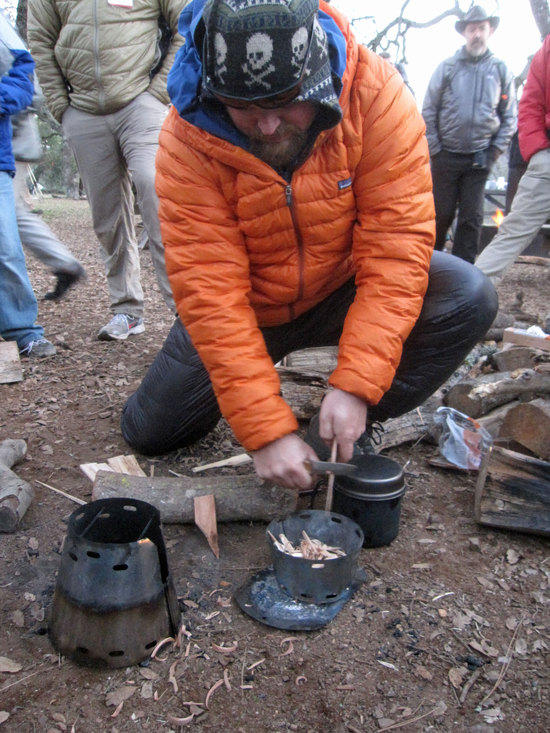 Josh Prepring Wood for Caldera Cone Inferno