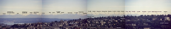 Partial view of Cascade range from Seattle