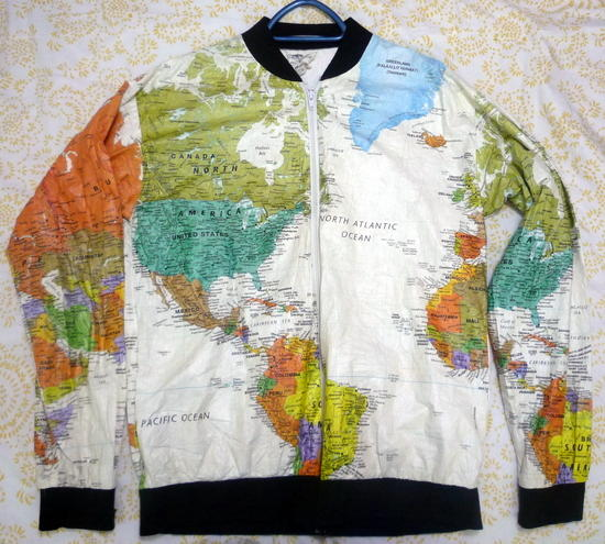 World map jacket - front view