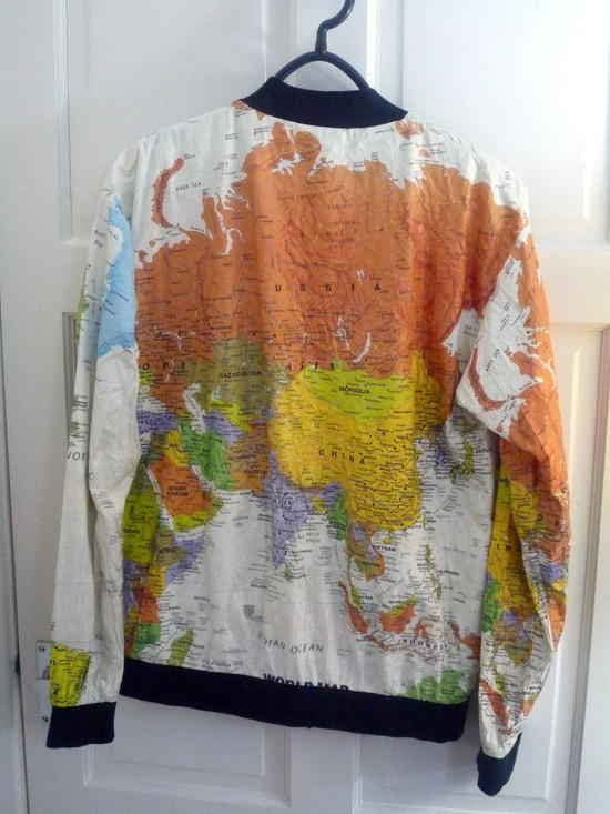 World map jacket - rear view